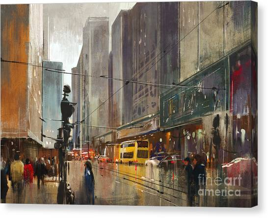 City Street Digital Canvas Print by Tithi Luadthong