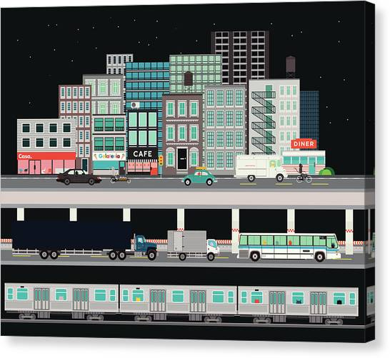Truck Driver Canvas Print - City Street With Various Modes Of by Robert Hanson