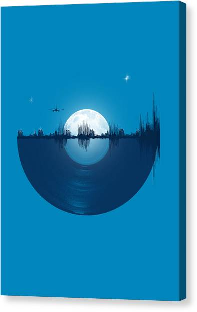 Night Lights Canvas Print - City Tunes by Neelanjana  Bandyopadhyay