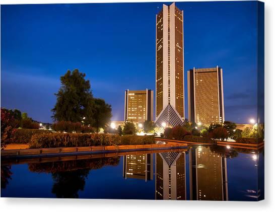 Oklahoma State University Canvas Print - Cityplex Tower Reflections- Tulsa Oklahoma by Gregory Ballos