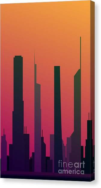 Cityscape Design Orange Version   Eps10 Canvas Print by Clickhere