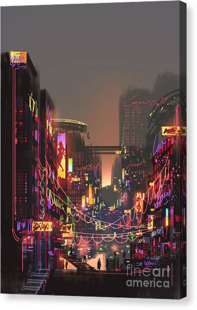 Pub Canvas Print - Cityscape Digital Painting Of Building by Tithi Luadthong