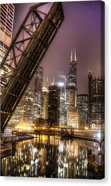 Cityscape Reflection In Chicago River March 2014 Canvas Print by Michael  Bennett