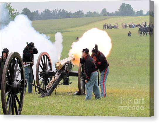 Fire Ball Canvas Print - Canon Firing by Dwight Cook