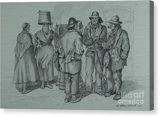 Claddagh People 1873 Canvas Print