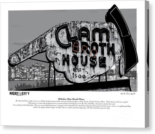 Clams Canvas Print - Clam Broth House Sign by Kenneth De Tore