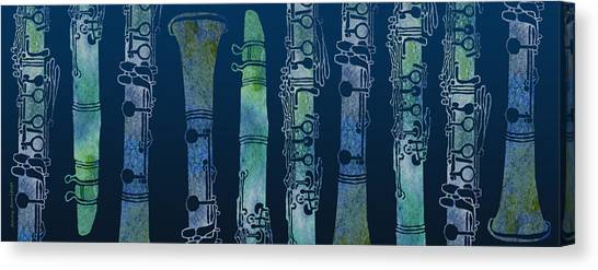 Clarinets Canvas Print - Clarinet Blues by Jenny Armitage