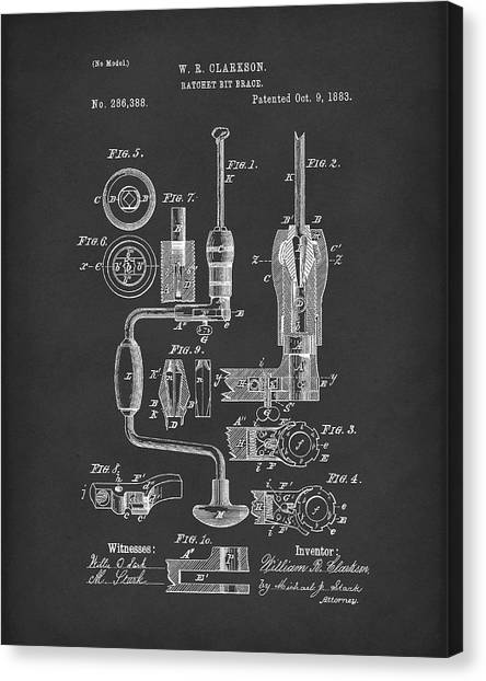 Braces Canvas Print - Clarkson Bit Brace 1883 Patent Art Black by Prior Art Design