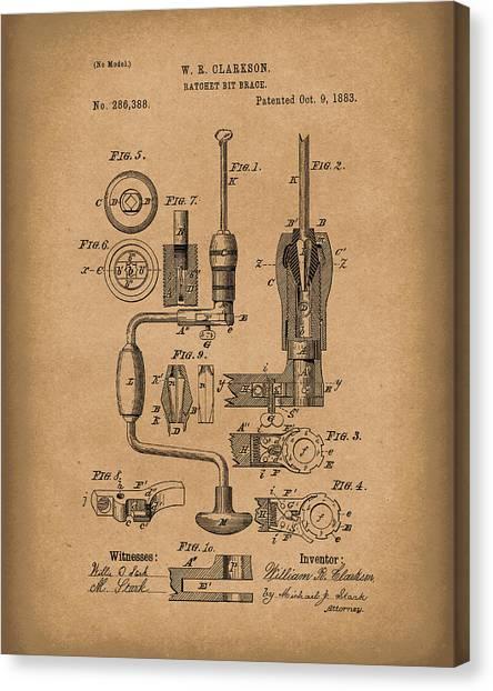 Braces Canvas Print - Clarkson Bit Brace 1883 Patent Art Brown by Prior Art Design