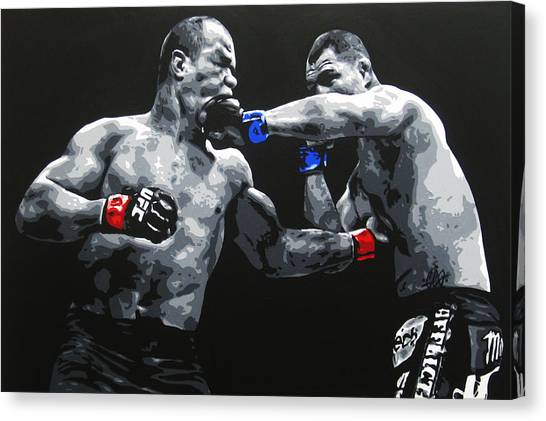 Mma Canvas Print - Clash Of The Titans by Geo Thomson
