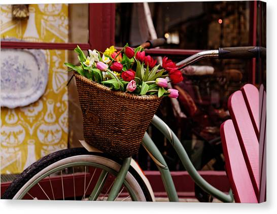 Classic Bike With Tulips Canvas Print