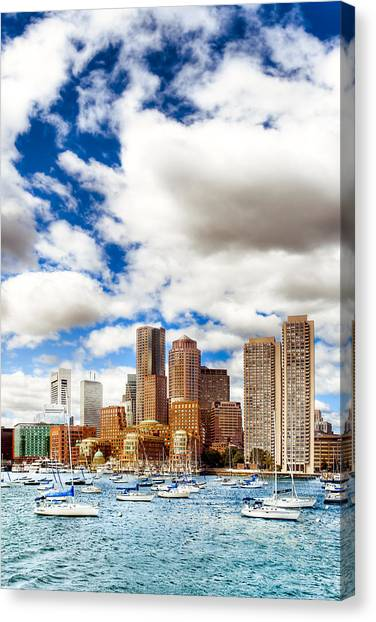Classic Boston Skyline From The Water Canvas Print by Mark E Tisdale