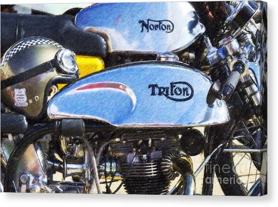 Pencil Drawing Motorcycle Canvas Print - Classic Cafe Racers by Tim Gainey