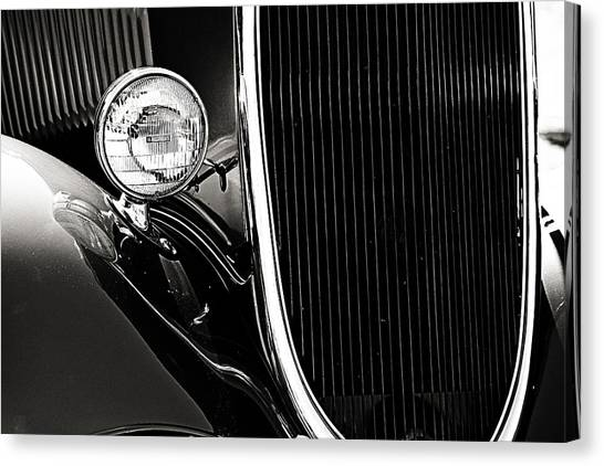 Classic Car Grille Black And White Canvas Print
