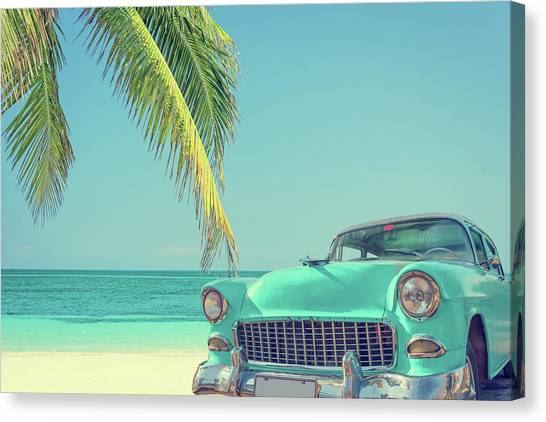 Classic Car On A Tropical Beach With Canvas Print by Delpixart