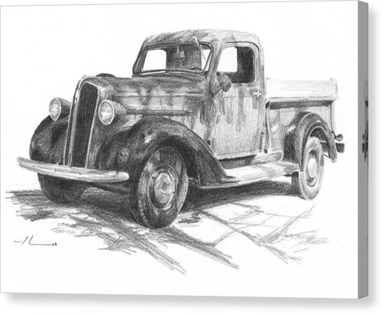 Classic Chevy Truck Pencil Portrait Canvas Print by Mike Theuer