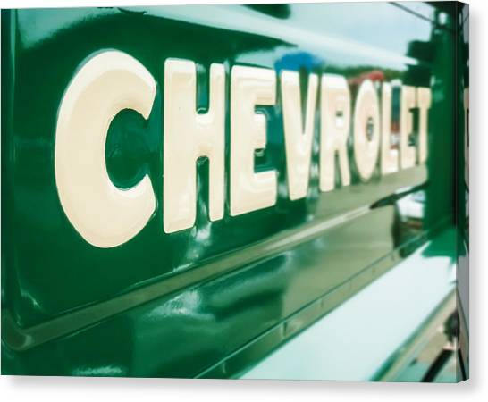 Classic Chevrolet Truck Canvas Print - Classic Chevy Truck Tailgate by Jon Woodhams