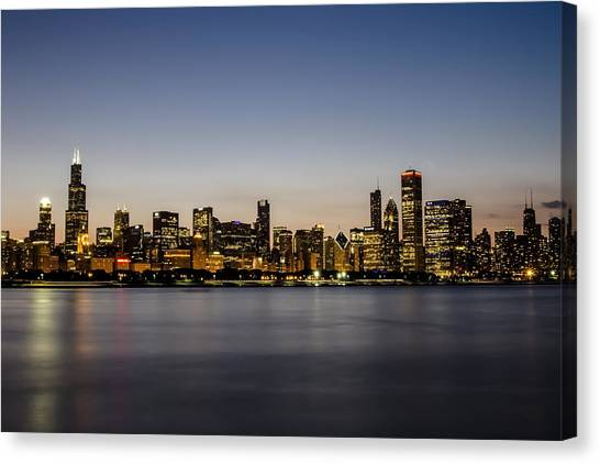 Classic Chicago Skyline At Dusk Canvas Print