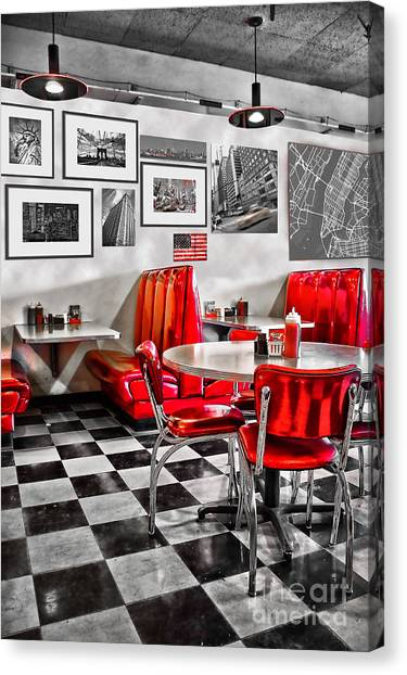 Diners Canvas Print - Classic Diner by Delphimages Photo Creations