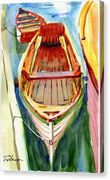 Classic Dinghy - Watercolor Sketch Canvas Print by Ron Wilson