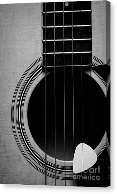 Guitar Picks Canvas Print - Classic Guitar In Black And White by Paul Ward