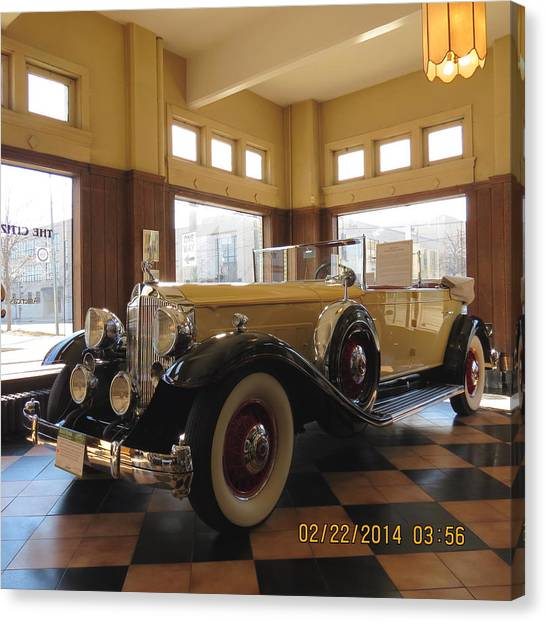 Classic Packard In Showroom Canvas Print