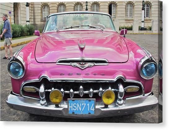 Classic Pink Desoto Taxi Car Canvas Print