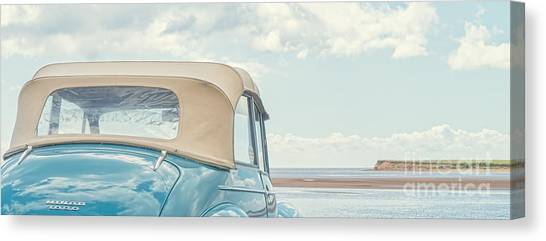 Prince Edward Island Canvas Print - Classic Vintage Morris Minor 1000 Convertible At The Beach by Edward Fielding