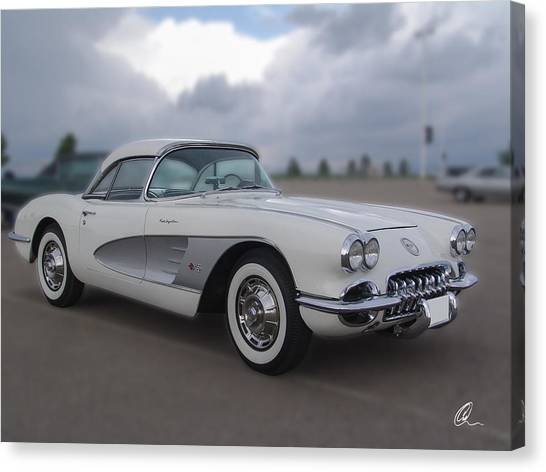 Classic White Corvette Canvas Print