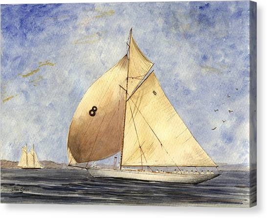 Yacht Canvas Print - Classic Yacht Barcelona by Juan  Bosco