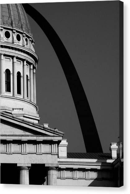 Classical Dome Arch Silhouette Black White Canvas Print