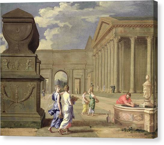 Compose Canvas Print - Classical Landscape Oil On Canvas by Jean Lemaire