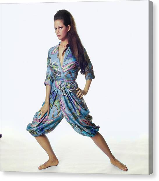 Claudia Cardinale Wearing Hollywood Vassarette Canvas Print by Bert Stern