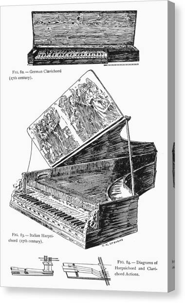 Harpsichords Canvas Print - Clavichord & Harpsichord by Granger