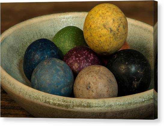 Clay Marbles In Bowl Canvas Print