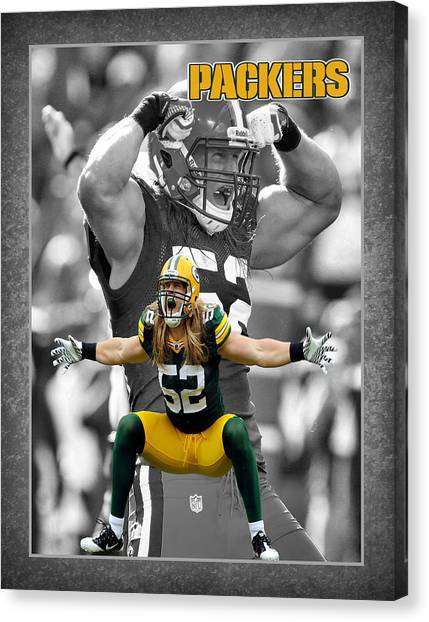 Green Bay Packers Canvas Print - Clay Matthews Packers by Joe Hamilton