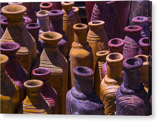Vase Of Flowers Canvas Print - Clay Vases by Garry Gay
