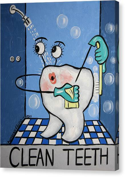Dentists Canvas Print - Clean Tooth by Anthony Falbo