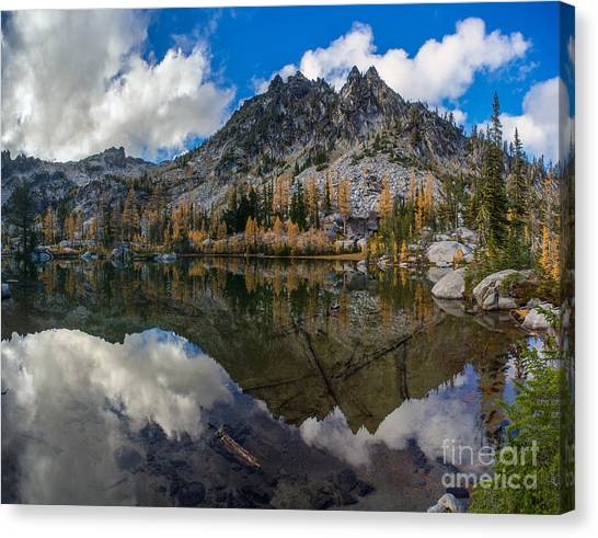 Horseshoe Falls Canvas Print - Clear Autumn Lakes Reflection by Mike Reid
