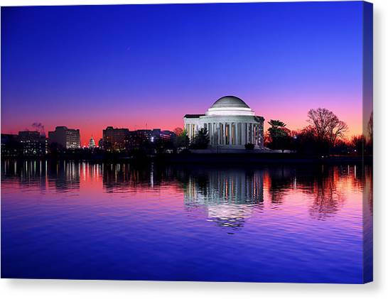 Clear Blue Morning At The Jefferson Memorial Canvas Print