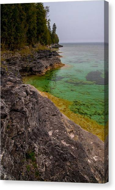 Underwater Caves Canvas Print - Clear Water At  Whitefish Dunes by Chuck De La Rosa