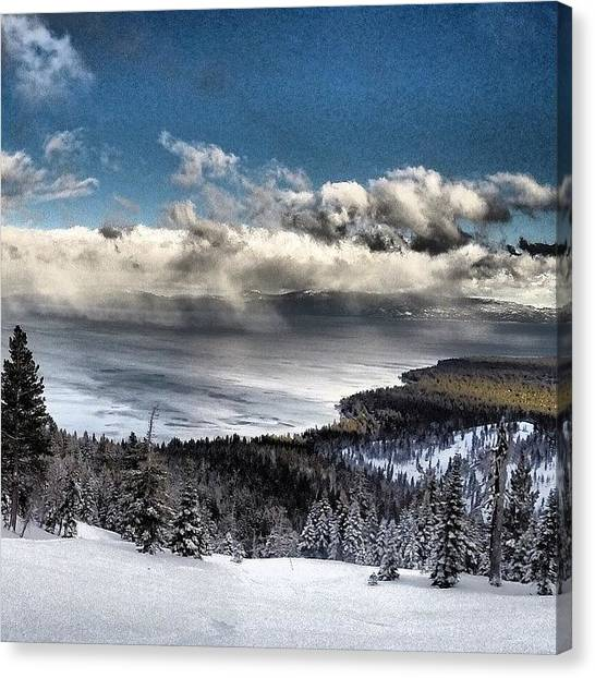 Snowboarding Canvas Print - Clearing Storm Clouds by Tim  Rantz