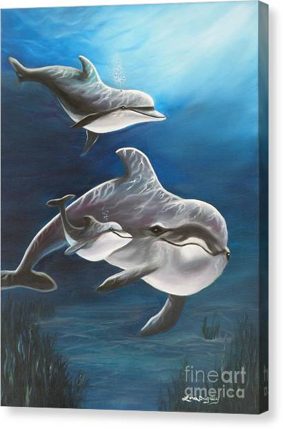 Clearwater Beach Dolphins Canvas Print