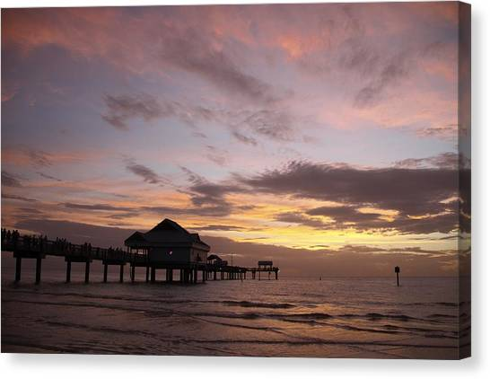Clearwater Beach Sunset Canvas Print by Lori  Burrows