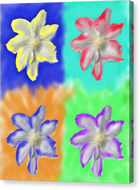 Clematis Osmosis Three Canvas Print