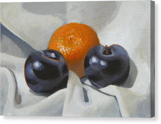 Clementine And Plums Canvas Print by Peter Orrock
