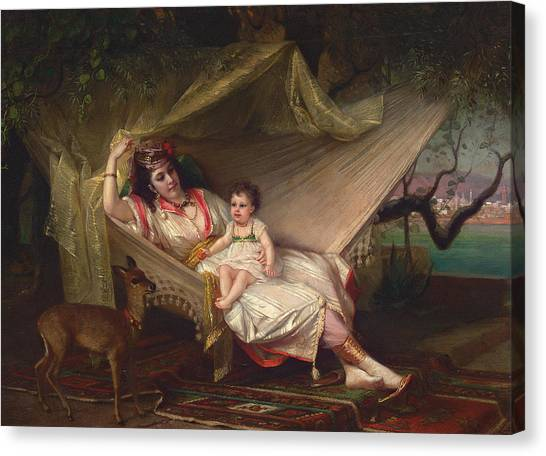 Faun Canvas Print - Clementine Stora And Her Daughter Lucie by Constant Joseph Brochart