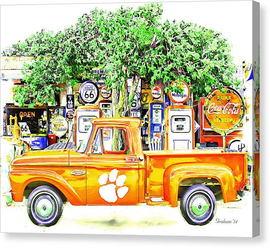 Clemson University Canvas Print - Clemson Tigers Vintage Fan Art  by Dwayne  Graham