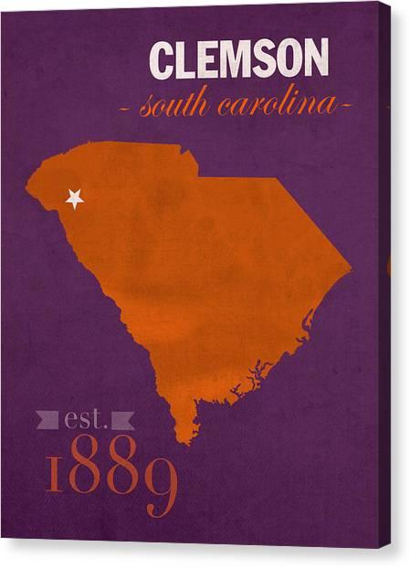 Clemson University Canvas Print - Clemson University Tigers College Town South Carolina State Map Poster Series No 030 by Design Turnpike