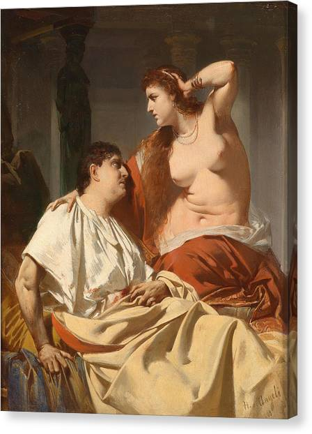 Erotic Framed Canvas Print - Cleopatra And Antony by Heinrich von Angeli